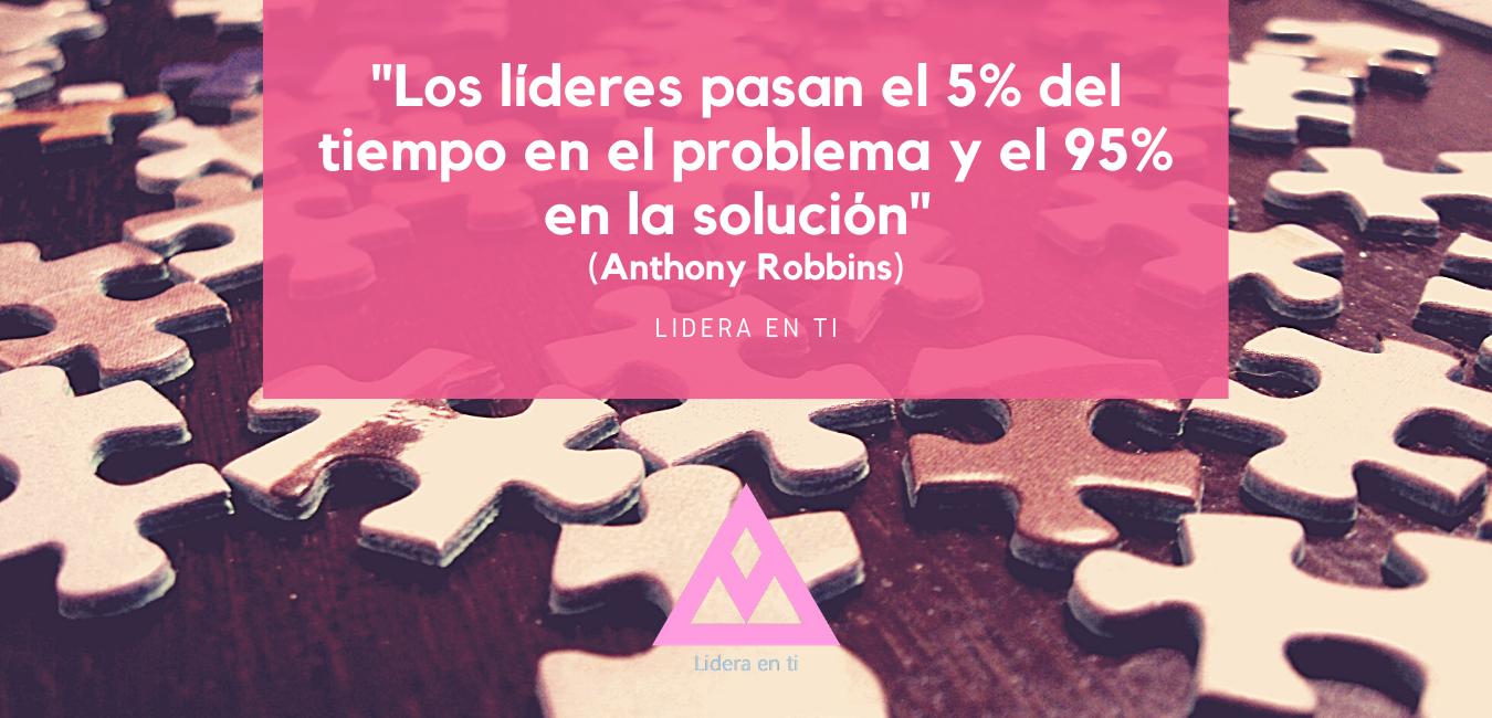 los lideres pasan el 5% del tiempo en el problema y el 95% en la solucion